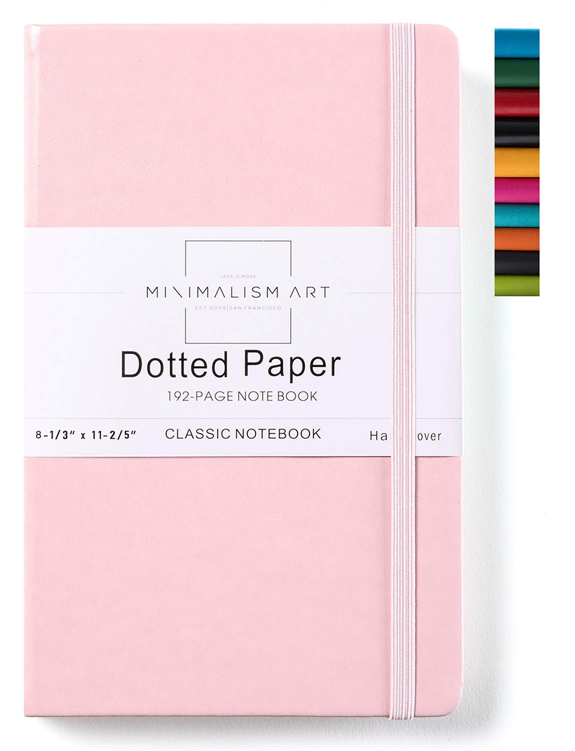 Minimalism Art, Classic Notebook Journal, A4 Size 8.3 X 11.4 inches, Pink, Dotted Grid Page, 192 Pages, Hard Cover, Fine PU Leather, Inner Pocket, Quality Paper-100gsm, Designed in San Francisco