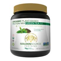 GoldenSource Proteins Organic Plant-Based Protein, Green Tea, 1 Pound