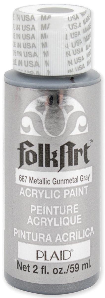 FolkArt Metallic Acrylic Paint in Assorted Colors (2 oz), 667, Gunmetal Gray
