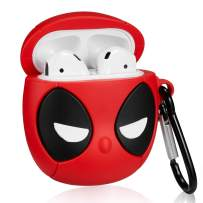 Gift-Hero Compatible with Airpods 1&2 Silicone Cute Case,Cartoon Fun Funny Cool Kawaii Design Designer Kits Character Skin Fashion Stylish Chic Cover for Girls Boys Kids Teens Air pods (3D Deadman)