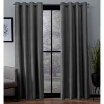 Exclusive Home Curtains London Textured Linen Thermal Window Curtain Panel Pair with Grommet Top, 54x96, Charcoal, 2 Piece