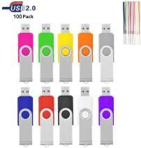 HKUU 100 Pack 1GB USB Flash Drive Memory Stick Thumb Drives Jump Pen Drive with Led Indicator,Bulk Zip Drive for Data Storage (Multi-Color)