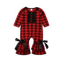 TheFound Christmas Newborn Infant Baby Girls Jumpsuit Cute Long Sleeve Ruffle Bell-Bottom Romper Bodysuit Pajamas Clothes