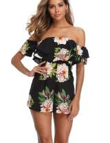 Women's Off The Shoulder Floral Print Rompers Strapless Ruffle Back Zipper Short Jumpsuits Playsuits