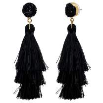 CAT EYE JEWELS Boho Colorful Statement Layered Long Tassel Bohemian Dangle Drop Druzy Black Stud Earrings For Women Girls
