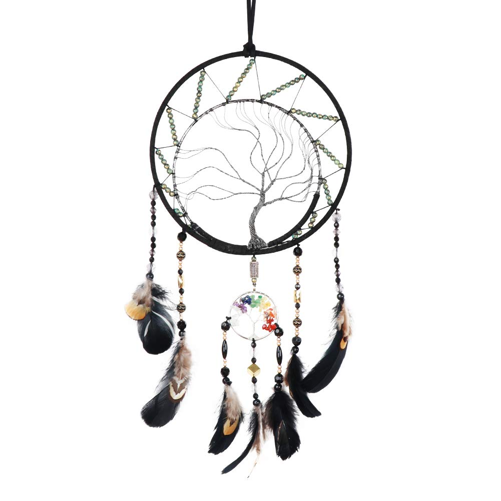 O-heart Tree of Life Dream Catcher with Rainbow Crystal, Black Feather Dream Catcher Wall Hanging Decor, Handmade Dreamcatcher for Bedroom Dorm Room Decorations Home Ornament Birthday Craft Gift