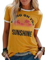 Chuanqi Women Bring On The Sunshine Printed T-Shirt Causal Loose Christian Graphic Tees Short Sleeve Summer Blouses Tops