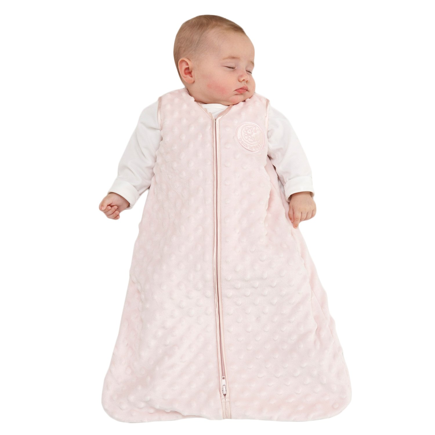 HALO Sleepsack Wearable Blanket, Velboa, Pink Plush Dots, Large