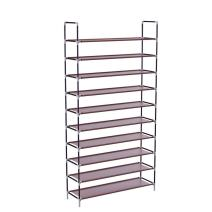 WEI WEI GLOBAL 10 Tiers Shoe Rack, 50 Pairs Non-Woven Fabric Shoe Storage Organizer, Shoe Tower Organizer Cabinet, Space Saving Shelf Closet (Dark Brown)