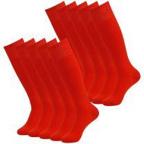 J'colour Soccer Socks, Unisex Solid Knee High Team Sports Socks Pack of 2/6/10