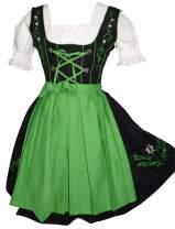 Edelweiss Creek 3-Piece German Oktoberfest Dirndl Dress, Black and Green