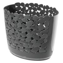 mDesign Decorative Oval Trash Can Wastebasket, Garbage Container Bin for Bathrooms, Powder Rooms, Kitchens, Home Offices - Pebble Design - Charcoal Gray