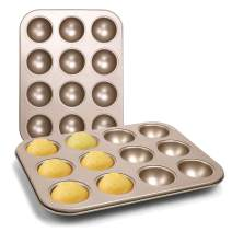 DricRoda 12 Cavity Cake Baking Pan, Non-Stick Cake Baking Tray, Carbon Steel Egg Muffin Pan for Cake Biscuit Baking, Hemisphere Bakeware for DIY Cakes, Chocolate Desserts, Ice Cream Bombs, Soap
