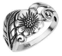 CloseoutWarehouse Sterling Silver Karen's Flower Ring (Sizes 2-15)