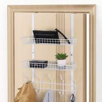 Over The Door Hook Hanger Storage Organizer with 5 Hooks & 2 Baskets for Coat, Towels, Hats, Handbags, White