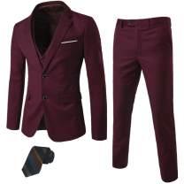 MY'S Men's 3 Piece Slim Fit Suit Set, 2 Button Blazer Jacket Vest Pants with Tie, Solid Wedding Dress Tux and Trousers