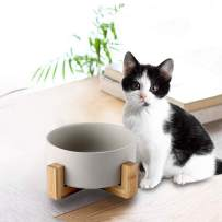 llkajes Ceramic Raised Pet Bowls Dog and Cat Water Food Basic Bowls with Anti-Slip Wooden Stand Reduce Neck Burden Easy to Clean Healthy Eating-Gray
