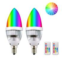 3W Dimmable RGBW LED E12 Candelabra Base Bulb - Lustaled Color Changing C35 LED E12 Chandelier Light Bulbs with Romote Controller for Home Decaration Stage KTV Ambience Lamp (RGB+Daylight, 2-Pack)