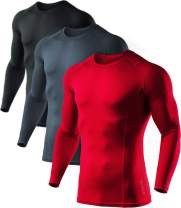 ATHLIO 3 Pack Men's Cool Dry Fit Long Sleeve Compression Shirts, Active Sports Base Layer T-Shirt, Athletic Workout Shirt