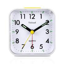 Tinload Small Battery Operated Analog Alarm Clock Silent Non Ticking, Ascending Beep Sounds, Snooze,Light Functions, Easy Set(White)
