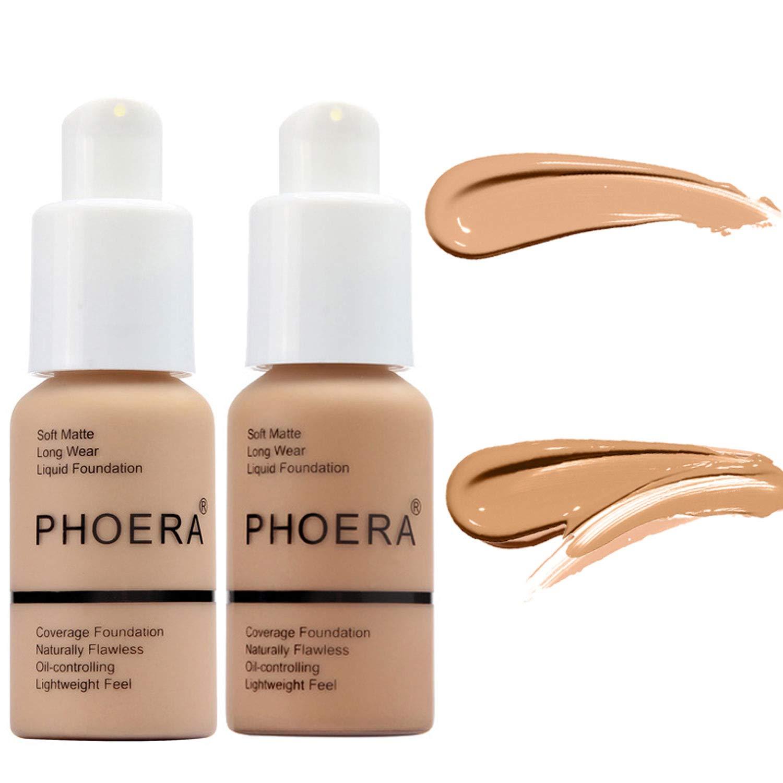 2 Pcs Liquid Foundation 30ml Natural Moisturizing Highlighting Matte Oil Control Concealer Facial Blemish Concealer Color Changing Phoera Foundation for Women Girls