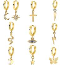 9 Pairs Small Huggie Hoop Earrings Set with Evil Eye Butterfly Star Dangle Charms.Gold/Silver/Rose gold