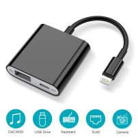 HENKUR USB Camera Adapter with Charging Port, USB OTG Cable Compatible with iPhone 11 X 8 7 6 iPad Air Pro Mini, Support iOS 9.2 to 13, USB Flash Drive, Card Reader, MIDI Keyboard, Upto 500mAh (Black)