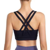 Innvix Cross Back Strappy Sports Bra for Women High Support Padded Wirefree Workout Training Bra for Yoga Gym Fitness