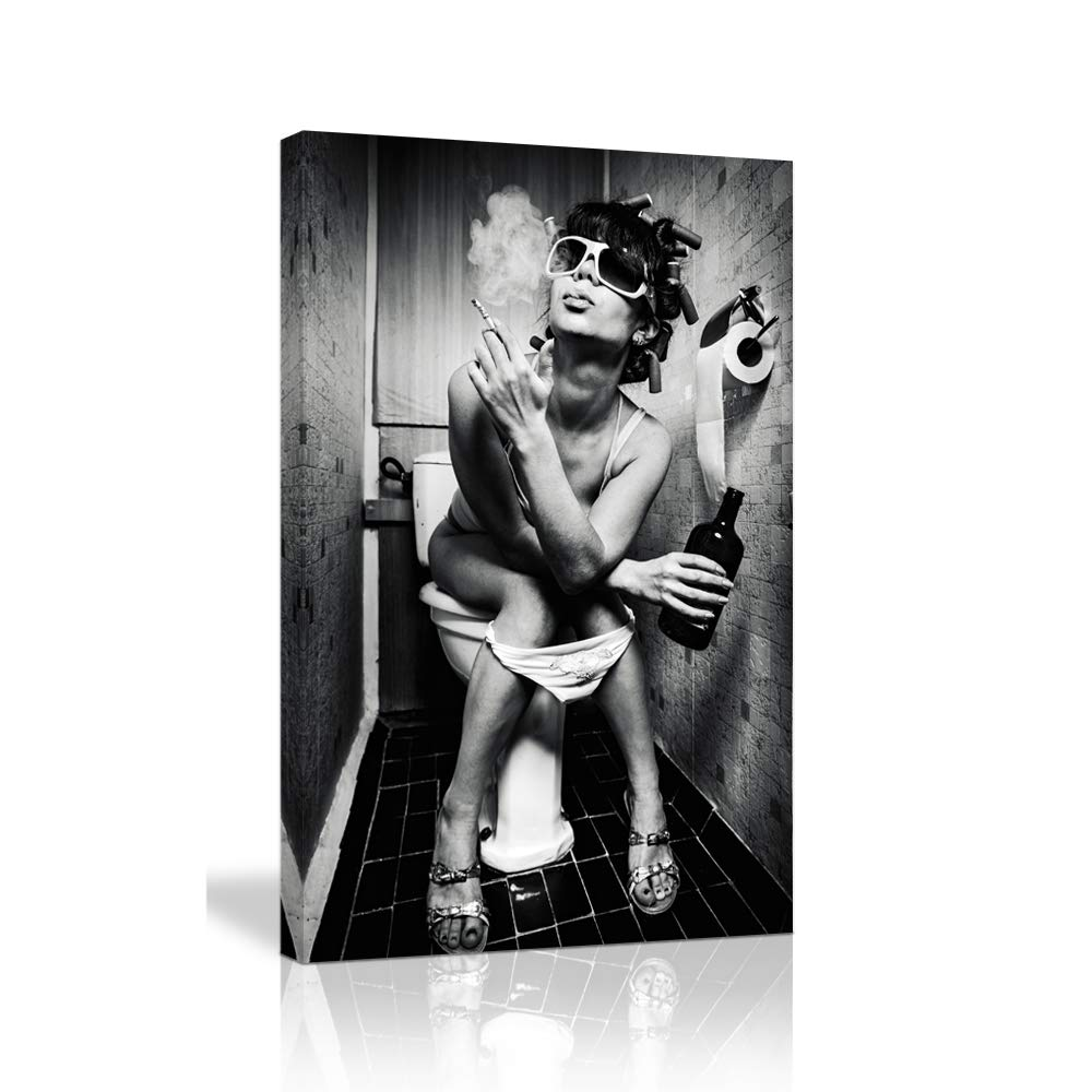 KALAWA Black and White Woman Cool Decor Poster for Bar Fashion Toilet Beauty Canvas Print Modern Fashion Girl in Restroom Painting Picture Wooden Framed Ready to Hang(16''W x 24''H)
