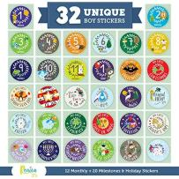 Massive Pack of 32 Ronica Baby Boy Stickers: 12 Baby Monthly Stickers + 20 Popular Milestones Baby Stickers - Record Your Baby's Growth, Holidays and Special Firsts - Unique Baby Gifts