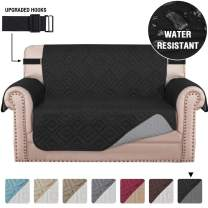 """Quilted Loveseat Slipcover Covers for 2 Cushion Couch Water Repellent Loveseat Couch Cover for Pets Dogs Furniture Protector with Non-Slip Strap (Seat Width 54"""", Reversible Black/Grey)"""