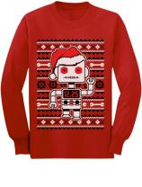 Big Santa Robot Ugly Christmas Sweater Youth Kids Long Sleeve T-Shirt