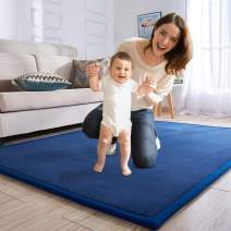 Baby Play Mat, Japanese Thicken Coral Velvet Carpet Children Crawling Mat Tatami Mat Living Room Bedroom Mat Area Rug, Foam Mat Play Mats Yoga Mat, Blue Area Rug, 75 by 94 inch
