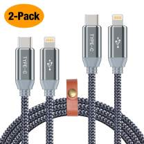 USB C to 8 Pin Cable,2 Pack/6.6ft Charge and Data Sync Nylon Braided Type C to 8pin Charging Cord Compatible Phone Xs/Xs Max/XR/X / 8 Connect to MacBook Pro Other Type-C Devices