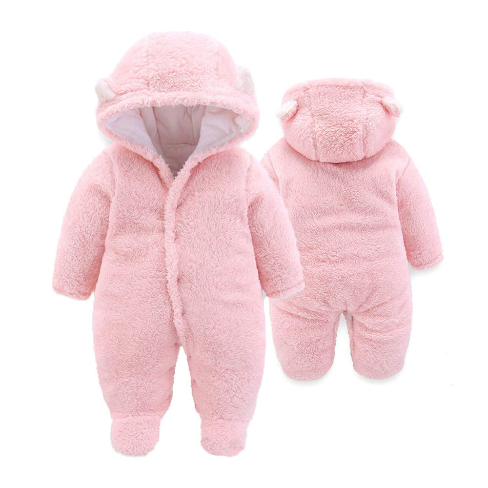 Rainlin Baby Fleece Snowsuit Newborn Girls Boys Bear Jumpsuit Winter Warm Infant Romper Outfits