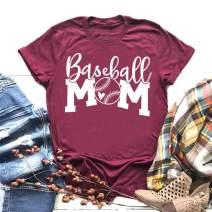 EXMIUN Baseball Mom Tshirt for Women Short Sleeve O-Neck Letters Print Casual Tops Tees