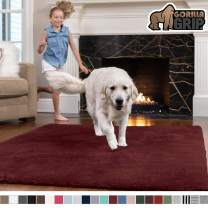 GORILLA GRIP Original Faux-Chinchilla Area Rug, 4x6 Feet, Super Soft and Cozy High Pile Washable Carpet, Modern Rugs for Floor, Luxury Shag Carpets for Home, Nursery, Bed and Living Room, Burgundy