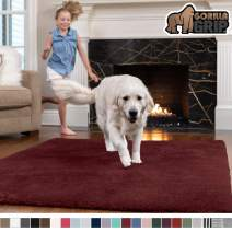 GORILLA GRIP Original Faux-Chinchilla Area Rug, 5x7 Feet, Super Soft and Cozy High Pile Washable Carpet, Modern Rugs for Floor, Luxury Shag Carpets for Home, Nursery, Bed and Living Room, Burgundy