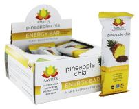 Paleo Pineapple Chia Protein Bars - Gluten-Free, Soy-Free, Dairy-Free, and Non-GMO - Vegan, Raw and Kosher - Kid-School Safe Snack - Clean fuel for athletes - Pack of 12-1.8oz Each by Amrita