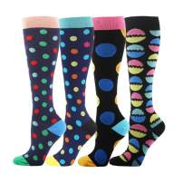 HLTPRO Compression Socks for Women & Men - 4 Pairs Best for Running, Flight, Nurse