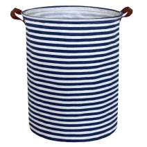 ESSME Large Storage Bin,Canvas Fabric Storage Baskets with Handles,Collaspible Laundry Hamper for Household,Gift Baskets,Toy Organizer (Navy Blue Stripes)