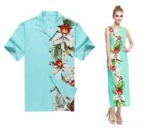Made in Hawaii Couple Matching Luau Aloha Shirt Maxi Tank Dress Side Orchid Turquoise