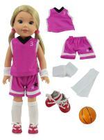 American Fashion World Purple Basketball Uniform fits 14 Inch Doll