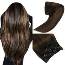 Sunny Clip in Hair Extensions Brown 16 inch Balayage Clip in Extensions Dark Brown Mix Medium Brown Clip on Hair Extensions Human Hair 120g 7pcs