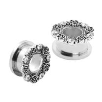 Qmcandy 2Pcs Stainless Steel Retro Flower Ear Tunnels Stretchers Ear Gauges