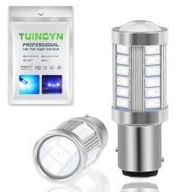 TUINCYN 1157 BAY15D LED Bulb Blue Brake Light Bulb Bright 8000K 5630 33SMD 2057 2357 7528 2057A 1157A 2357A Tail Light Turn Signals Light Back Up Reverse Light Parking Light DC 12V (Pack of 2)