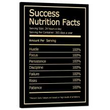 "Success Nutrition Facts Motivational Wall Art Inspirational Entrepreneur Quotes Painting Prints on Canvas Modern Inspiring Posters Pictures Framed Wooden Artwork Home House Office Decor (12""Wx18""H)"
