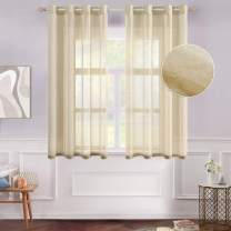 MIULEE 2 Panels Brown Semi Sheer Window Curtains Elegant Grommet Top Window Voile Panels/Drapes/Treatment Linen Textured Panels for Bedroom Living Room (54X54 Inches)