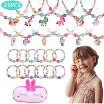 YINTAO 25PCS Girls Party Deluxe Girls Party Princess Unicorn Necklace & Bracelet Jewelry Value Pack + Gift Bag