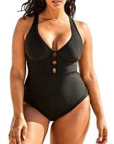 Women's Plus Size One Piece Swimsuits Bathing Suits for Women Sexy Halter Plunge Neck Swimsuit Lace Up Swimwear L-4XL